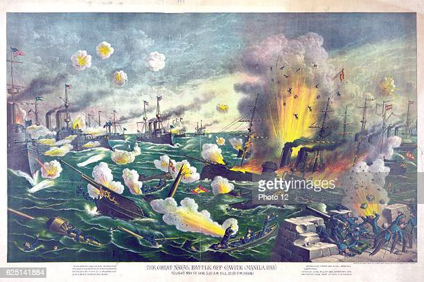 Battle of Manila Bay Philippines 1 May 1898 the first major _engagement of the conflict Spanish vessels destroyed by American fire Chromolithograph