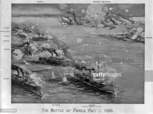 Battle of Manila Bay Philippines 1 May 1898 the first major engagement of the conflict Commodore George Dewey's cruiser leading action