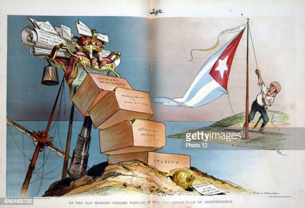 Spain lost her empire and United States became regional power in South America and the Caribbean Cartoon showing Theodore Roosevelt hoisting Cuban...