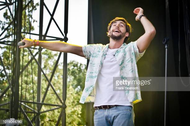 SpanishGerman singer Alvaro Soler performs live on stage during the Festival Stars For Free at the Kindlbuehne Wuhlheide on August 18 2018 in Berlin...