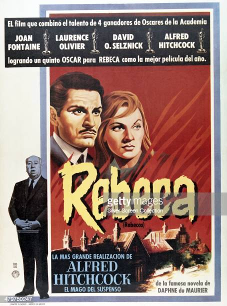 Spanish-language poster for 'Rebecca', directed by Alfred Hitchcock and starring Laurence Olivier and Joan Fontaine, 1940. The poster was printed in...