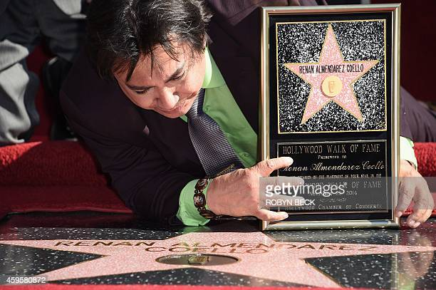 Spanishlanguage radio personality Renán Almendárez Coello 'El Cucuy de la Manana' reacts as he is honored with a star on the Hollywood Walk of Fame...