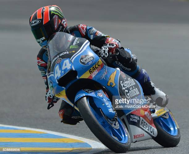 Spanish's rider Aron Canet competes on his Honda Estrella Galicia 00 N��44 and clocked the third position during the Moto3 qualifying cession of the...