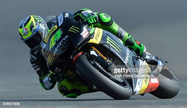 Spanish's rider Pol Espargaro competes on his Monster Yamaha TECH3 N��44 during a motoGP qualifying practice session ahead of the French motorcycling...