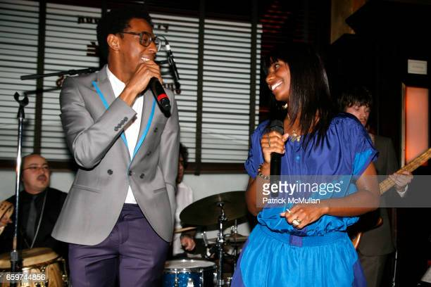 Spank Rock and Santigold attend TOPSHOP TOPMAN HOSTS PRIVATE DINNER TO CELEBRATE FLAGSHIP STORE OPENING at Balthazar on March 31 2009 in New York City