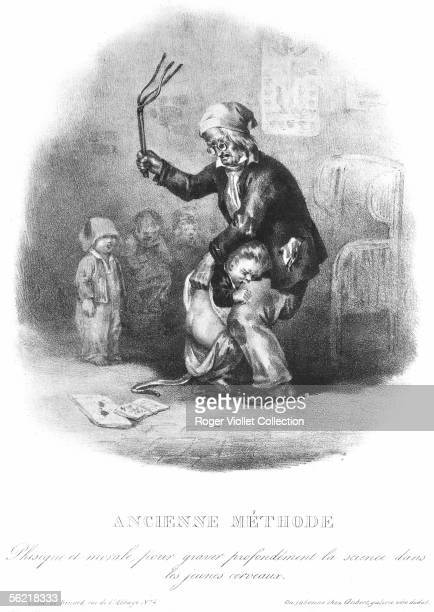 Spanking at school Lithography by Benard 1833