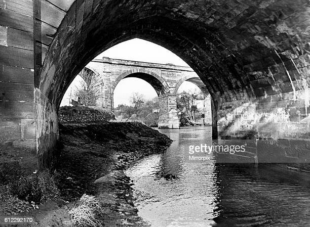 Spanning the Tees, Yarm's two bridges - the railway viaduct in the background and the road bridge showing the original 1400 structure in the...