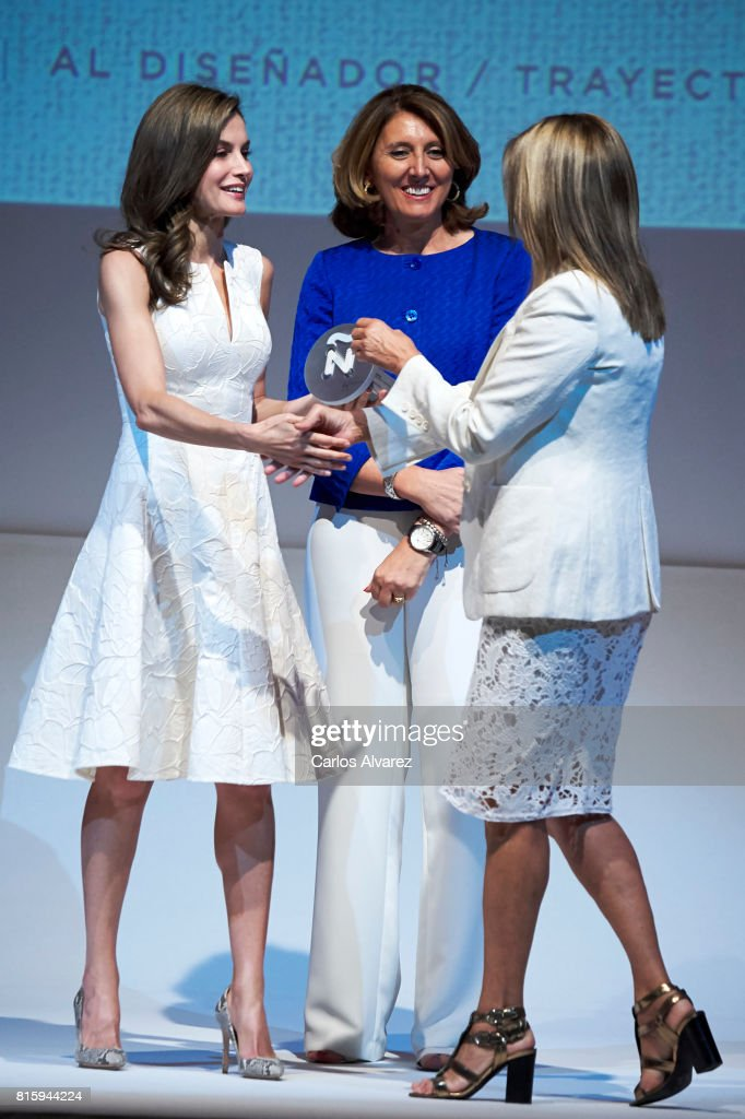 Spansih designer Purificacion Garcia (R) receives from Queen Letizia of Spain (L) the National Fashion Award 2017 at Museo del Traje on July 17, 2017 in Madrid, Spain.