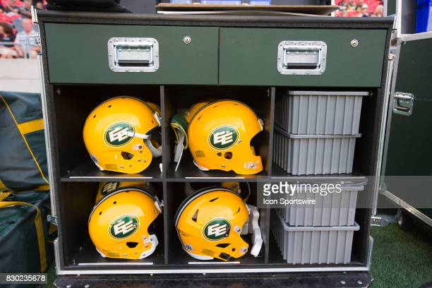 Spare Edmonton Eskimos helmets on the sidelines of Canadian Football League game at TD Place in Ottawa, Canada on 10 August 2017.