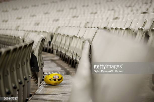 Spare football is seen in the grand stand during the 2020 AFL Round 01 match between the Richmond Tigers and the Carlton Blues at the Melbourne...
