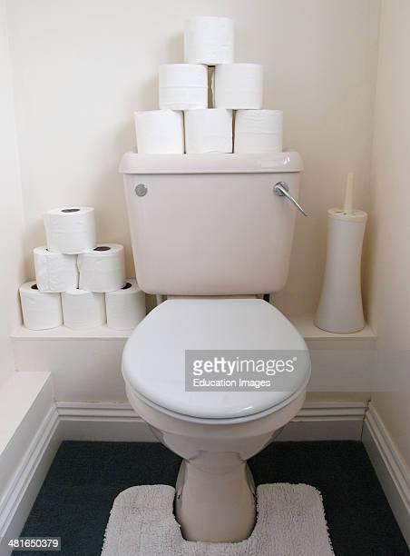 Spare toilet rolls on top of toilet UK