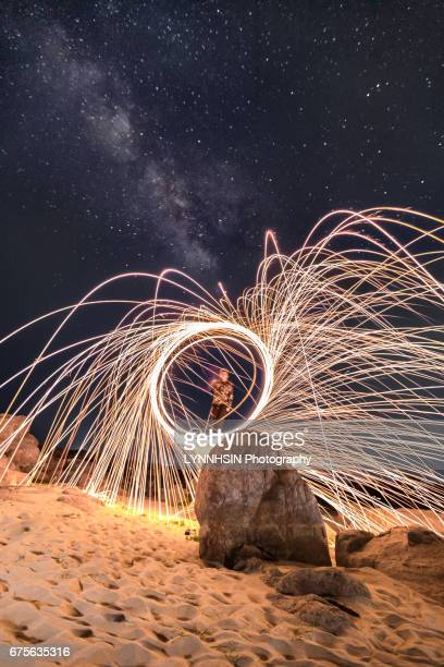 sparking into milky way - lynnhsin stock pictures, royalty-free photos & images
