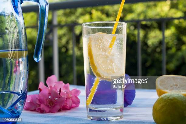 Sparking mineral water with lemon