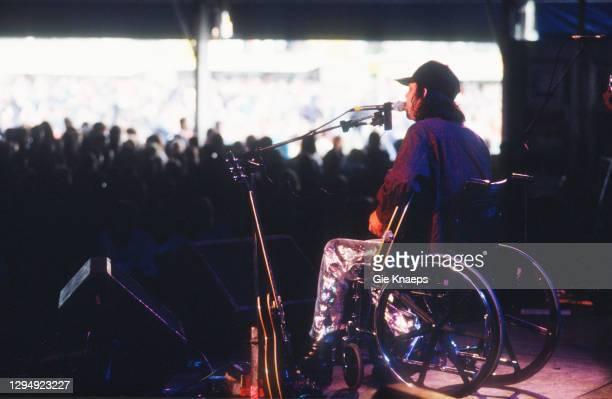 Sparklehorse, Mark Linkous sitting in a wheelchair, Pukkelpop Festival, Hasselt, Belgium, 24th August 1996.