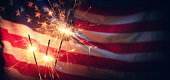 Sparklers And American Flag - Independence Day