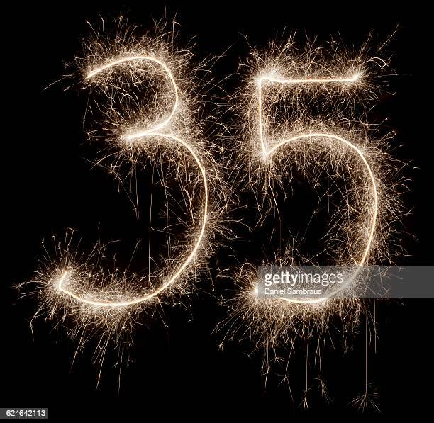 sparkling celebration number 35 - daniel funke stock-fotos und bilder