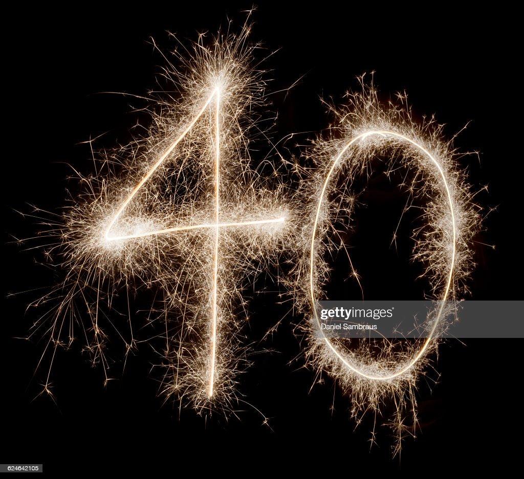 Sparkling celebration number 40 : Stock Photo