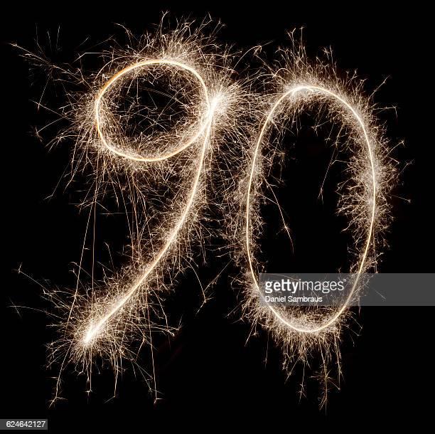 sparkling celebration number 90 - daniel funke stock-fotos und bilder