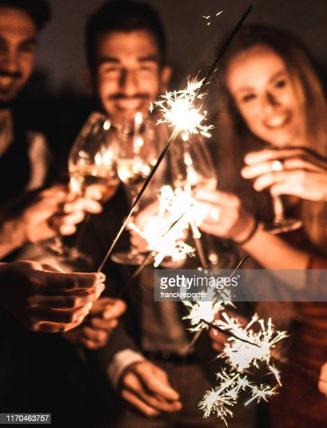 sparkling for the new year - happy new year 2020 stock photos and pictures