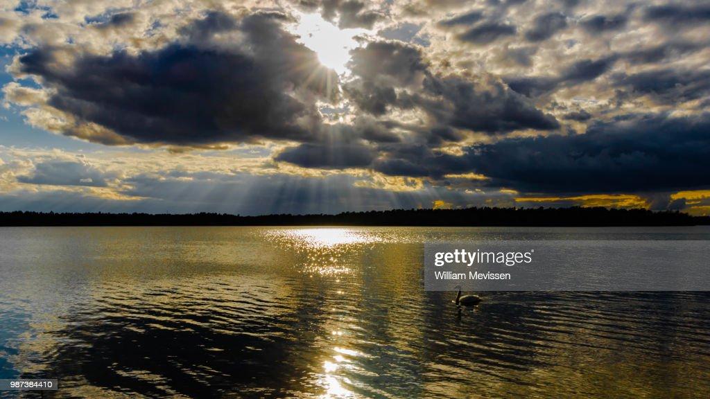Sparkling Golden Lake : Stockfoto
