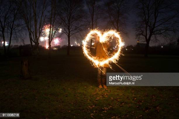 Sparkling heart at new year