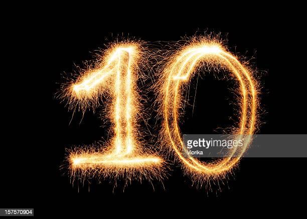 Glitzernde Nummer 10 (XXL