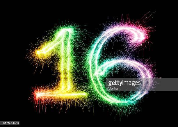 Sparkling number 16 on a black background