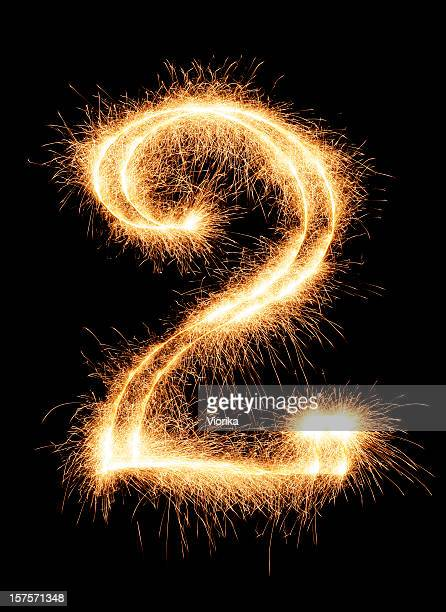 sparkling number 2 - number 2 stock pictures, royalty-free photos & images