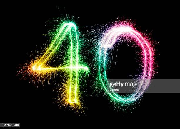 sparkling number 40 (xxl) - number 40 stock photos and pictures