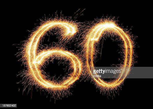 sparkling number 60 (xxl) - number 60 stock photos and pictures