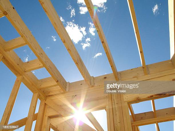 Sparkling Sunlight Framed Within Residential Wood Construction Framing