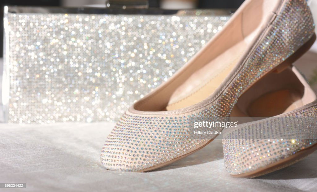 Sparkly shoes and clutch : Stock Photo
