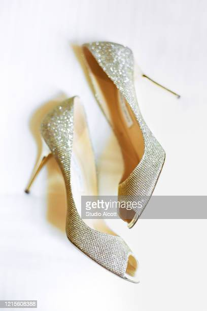 sparkly wedding shoes - gray shoe stock pictures, royalty-free photos & images