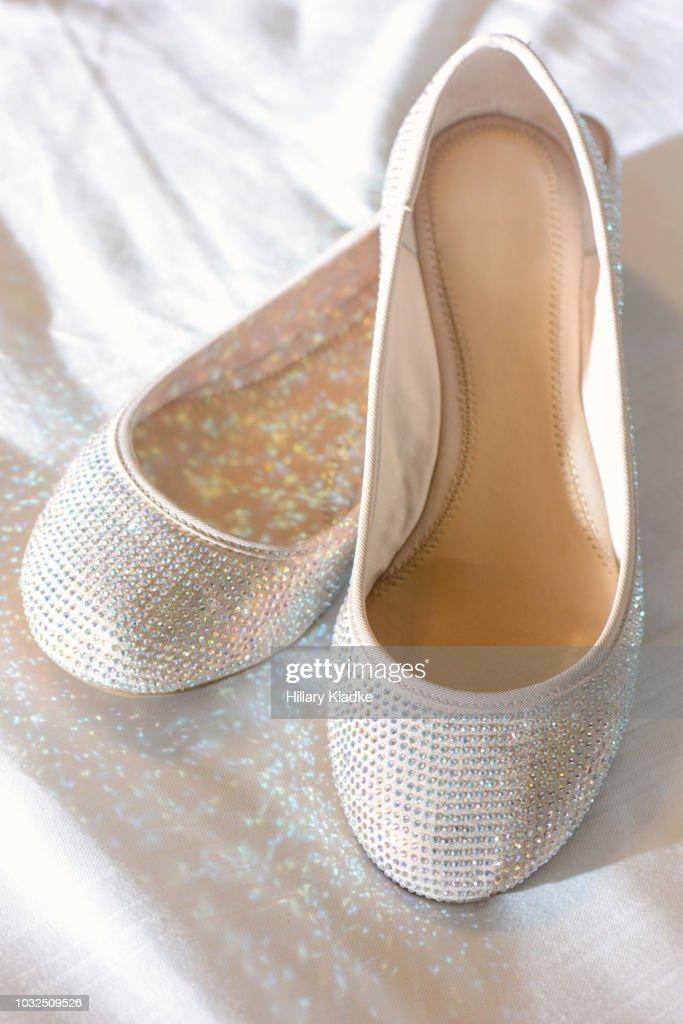 Sparkly white ballet flats   Stock Photo 8ce6332a5471
