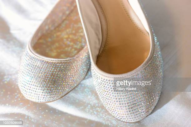 sparkly white ballet flats - flat shoe stock pictures, royalty-free photos & images