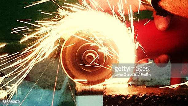 Sparks Coming Out From Grinder In Metal Factory
