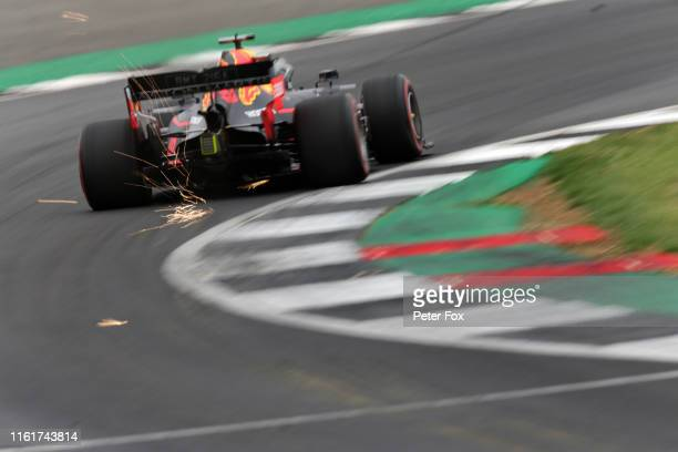 Sparks fly behind Max Verstappen of the Netherlands driving the Aston Martin Red Bull Racing RB15 on track during final practice for the F1 Grand...