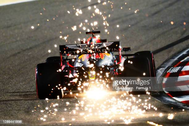 Sparks fly behind Max Verstappen of the Netherlands driving the Aston Martin Red Bull Racing RB16 during practice ahead of the F1 Grand Prix of...