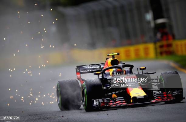 Sparks fly behind Max Verstappen of the Netherlands driving the Aston Martin Red Bull Racing RB14 TAG Heuer on track during final practice for the...