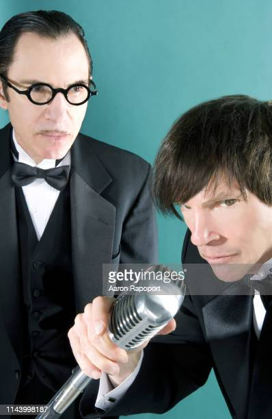 Sparks members Ron Mael and Russell Mael poses for a portrait circa 1985 in Los Angeles, California