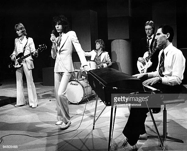 "Sparks perform live on stage at Hilversum, Netherlands in 1974 L-R Martin Gordon Russell Mael, Norman ""Dinky"" Diamond Adrian Fisher Ron Mael"