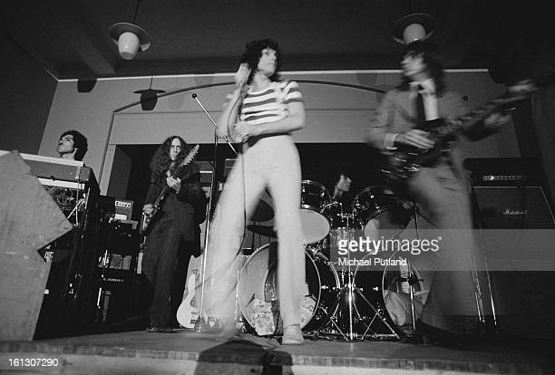 Sparks performing on stage, London, 24th November 1972. Left to right: Ron Mael, James Mankey, Russell Mael, Harley Feinstein and Earle Mankey.