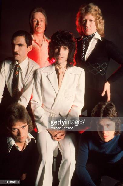 Sparks, studio group portrait, London L-R Ian Hampton, Ron Mael, Trevor White, Russ Mael, Norman 'Dinky' Diamond, Adrian Fisher.