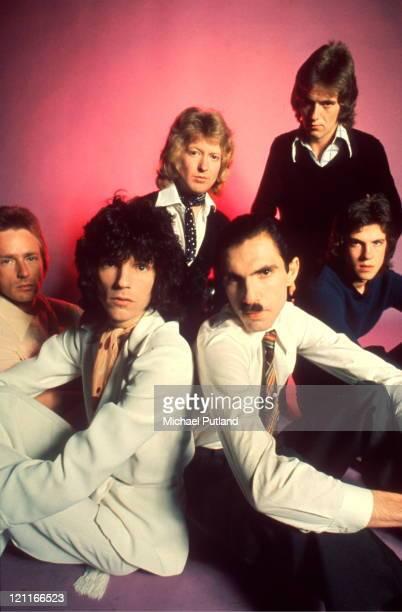 Sparks, studio group portrait, London L-R Trevor White, Russ Mael, Norman 'Dinky' Diamond, Ron Mael, Ian Hampton, Adrian Fisher.