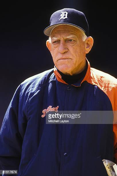 Sparky Anderson manager of the Detroit Tigers before a baseball game on May 5 1994 at Tigers Stadium in Detroit Michigan