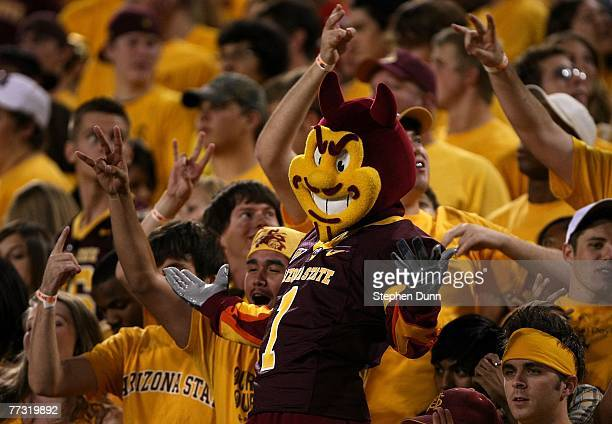Sparky the Arizona State Sun Devils mascot does performs in the student section durng the game against the Washington Huskies on October 13 2007 at...