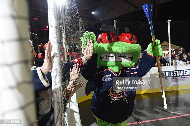 Sparky the Dragon of the New York Islanders interacts with fans during the mascot showdown as part of the 2015 NHL AllStar Weekend at York Rink on...