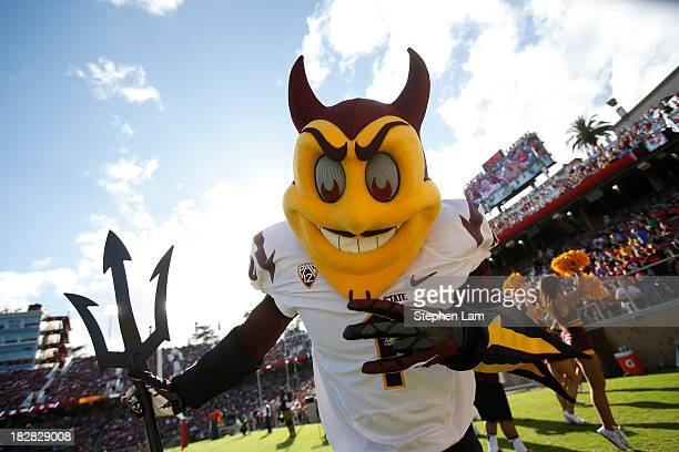Sparky the Sun Devil the mascot of the Arizona State Sun Devils is seen during a game against the Stanford Cardinal on September 21 2013 in Stanford...