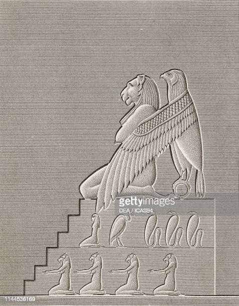 Sparrowhawk wrapping with its wings a crouched woman with the head of a lion interior of Hathor Temple Dendera Temple complex Egypt engraving after a...