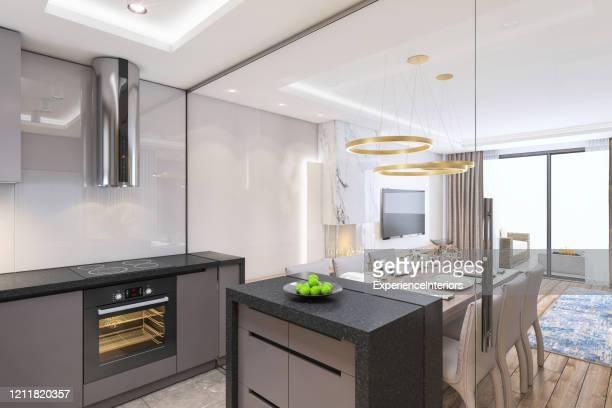 ガラスの壁とまばらでモダンなキッチンインテリア。 - 家庭の備品 ストックフォトと画像